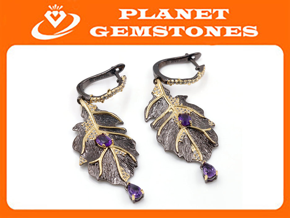 Amethyst Earrings Amethyst Jewelry Amethyst Earrings Natural Amethyst Genuine Amethyst Jewelry February Birthstone Silver Jewelry SKU:6142043-AMETHYST-Planet Gemstones