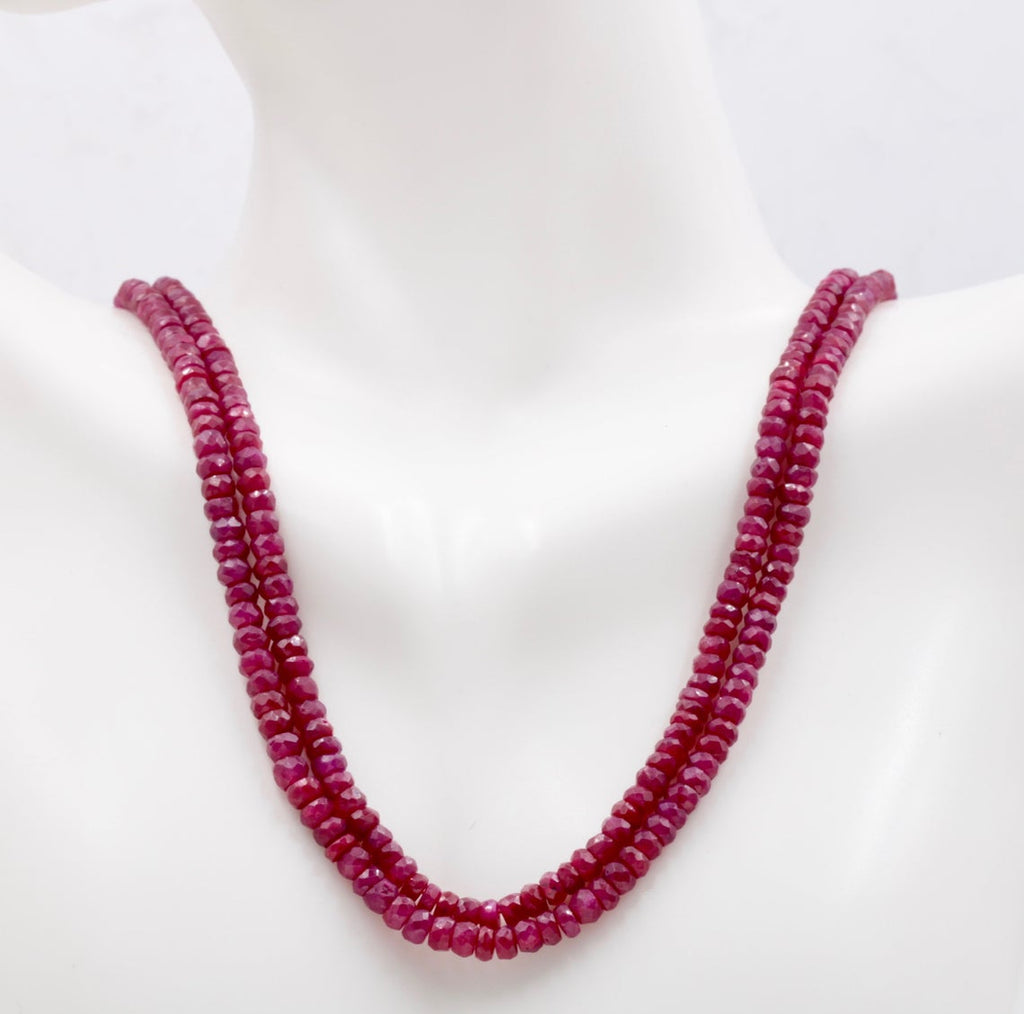 Genuine ruby beads Ruby bead necklace ruby gemstone beads ruby fuchsite beads necklace for women ruby necklace 3-4mm 16 inch long SKU:113314-Ruby-Planet Gemstones