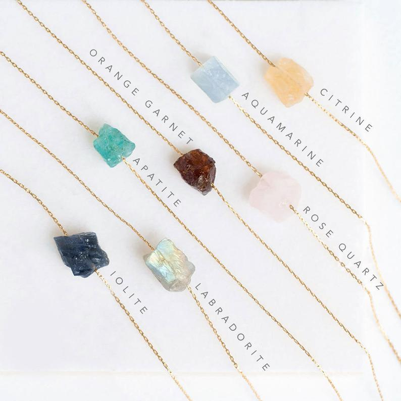 Raw Crystal Necklace Rough Stone Necklace SKU: 6142183-Jewelry-Planet Gemstones