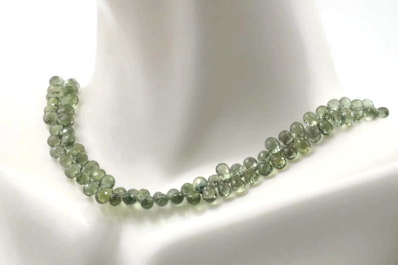 Natural Green Sapphire DIY Jewelry Sapphire Unfinished Necklace September Birthstone Sapphire Briolette Drops Strand 8 Inches SKU:00111294-Beads-Planet Gemstones