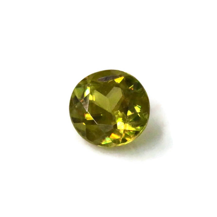 Natural Sphene Titanite Sphene Green Sphene Titanite Sphene Gemstone Green Titanite Faceted Sphene 7mm Round Sphene Loose Stone 1.50ct-Planet Gemstones