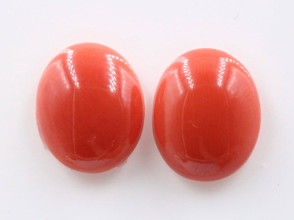 Natural Coral Gemstone Genuine Coral Stone Italian Cora DIY Jewelry Supplies Pair 12x10mm OV DIY Jewelry Supplies-Planet Gemstones
