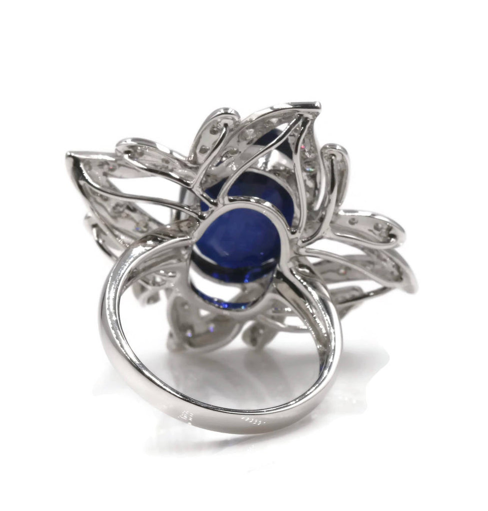 18K White Gold Kyanite and Diamonds Ring 00107883-Planet Gemstones