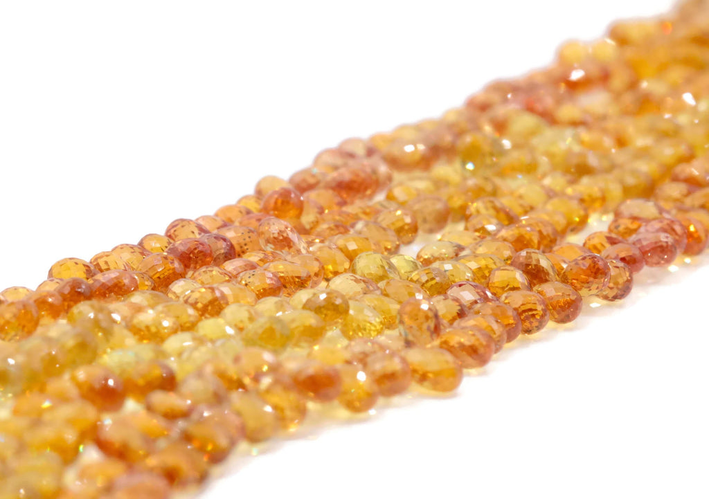 Natural Sapphire @ Orange Sapphire Beads Sapphire September Birthstone Yellow and Orange SAPPHIRE mix Briolette strand 4x3mm DIY Jewelry-Planet Gemstones