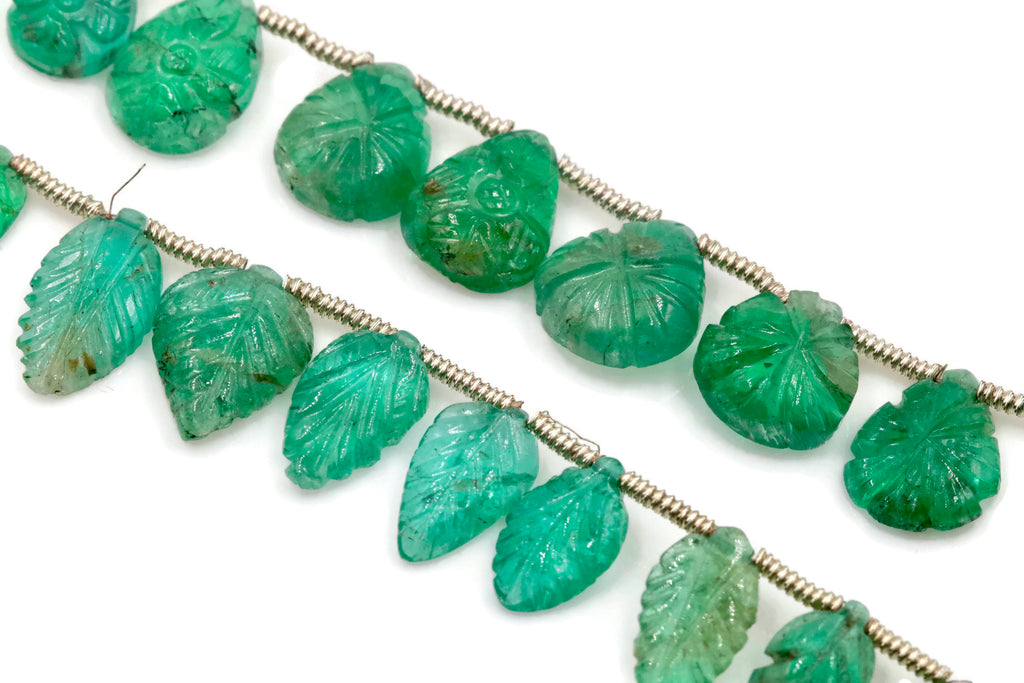 Genuine Emerald Beads Emerald Necklace Green gemstone Beads Emerald Gemstone Beads Green Necklace Emerald leaf Bead Necklace SKU:00108064-Emerald-Planet Gemstones