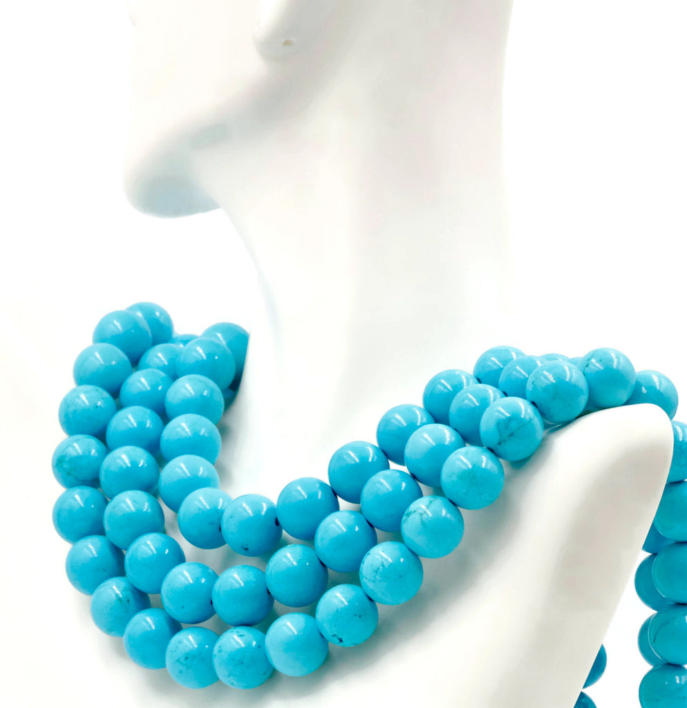 Howlite Blue Howlite DiY Jewelry Howlite necklace Howlite Jewelry Howlite round beads 12mm DIY Jewelry 58 DIY Jewelry Supplies-Planet Gemstones