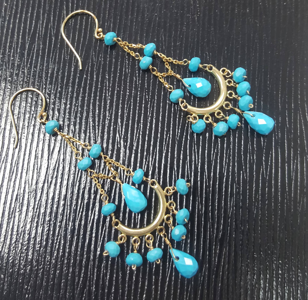 Natural Turquoise Turquoise Earring Turquoise jewelry Sleeping Beauty Gift for Mom 10K YG Half Moon Earring Sleeping Beauty Turquoise-Planet Gemstones