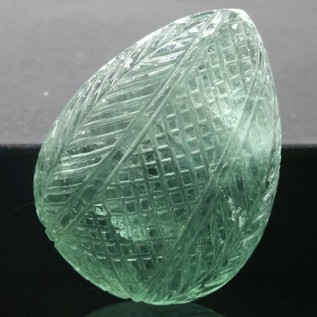 Natural Flourite Flourite Crystal Flourite Flourite Stone Green Flourite Carved Stone 37x28mm DIY Jewelry SKU:00107973 DIY Jewelry Supplies-Planet Gemstones