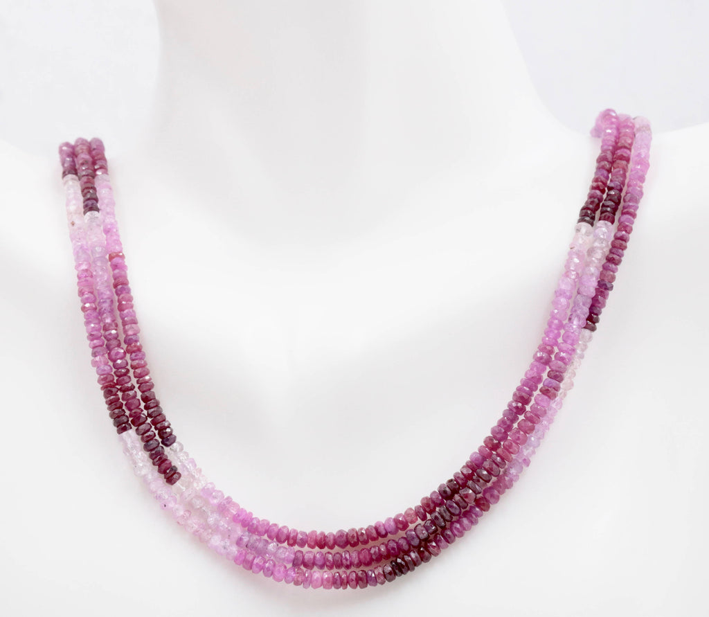 Genuine ruby beads Ruby bead necklace ruby gemstone beads ruby fuchsite beads necklace for women ruby necklace 2-3mm 16-17 inches,-Ruby-Planet Gemstones