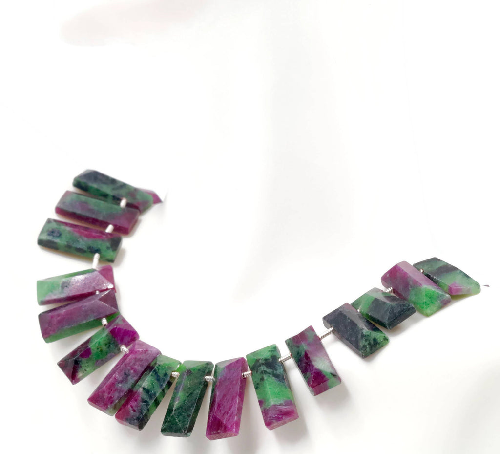 Genuine ruby Zoisite beads Ruby bead necklace ruby gemstone beads ruby fuchsite beads necklace for women ruby necklace 4-8Inch 18x7mm-Ruby-Planet Gemstones