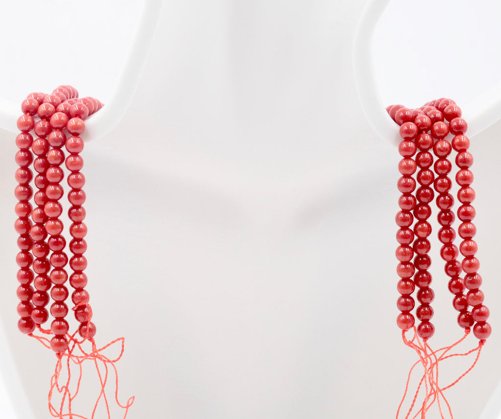 "Natural Coral Beads Coral Necklace Italian Coral beads Red Coral Beads Coral Beads Red Coral Beads Coral Bead Necklace 4mm16"" SKU:00108770-Planet Gemstones"