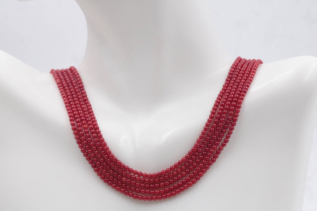 Natural Coral Beads Coral Necklace Italian Coral beads Red Coral Beads Coral Beads Red Coral Beads Coral Bead Necklace 15-16 Inch-Planet Gemstones