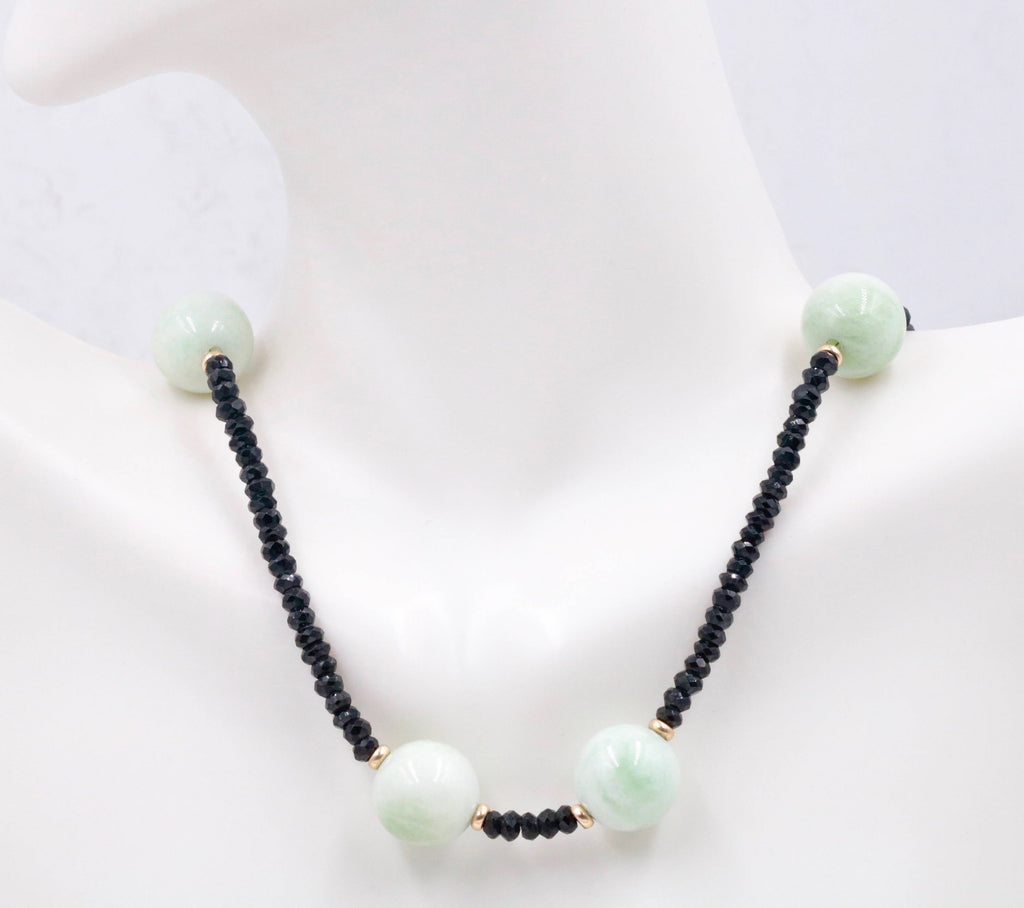14k YG with amazonite plain Rd 12mm & black Spinel 3mm Faceted round, , AAA Grade , 16-17 Inches, SKU: 00108937-Planet Gemstones