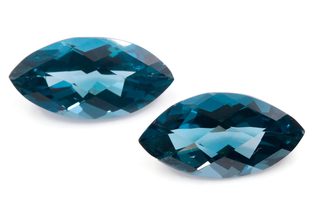 Natural Blue Topaz Gemstone Genuine Blue Topaz Faceted November Birthstone Blue Topaz Loose BLUE TOPAZ, matching pair, marquise, 20x10mm-Planet Gemstones