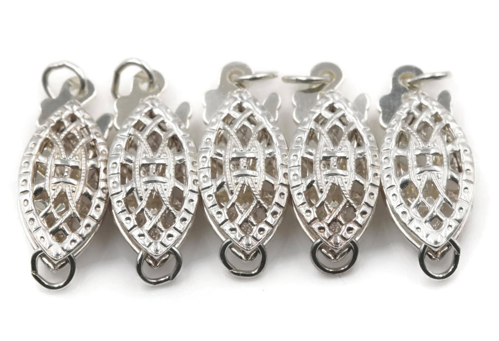 Jewelry supplies DIY Jewelry silver clasp jewelry findings dory finding nemo clasp 925 Silver clasp 5 pcs Filigree Clasp, 6x15mm-Planet Gemstones