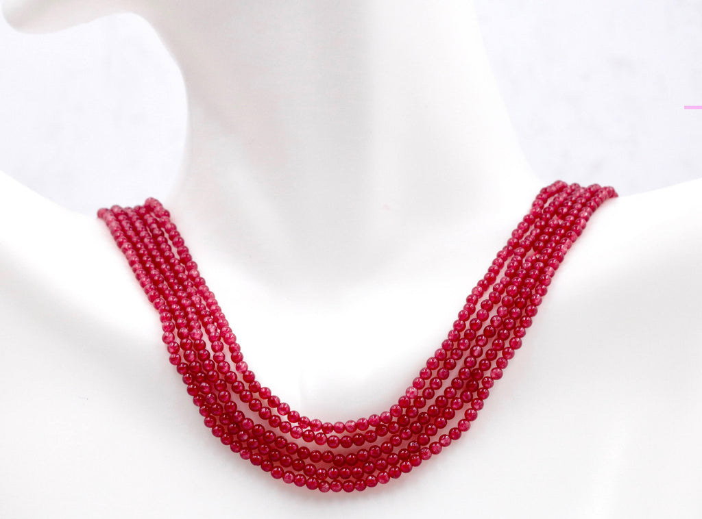 Red Jade Plain Beaded unfinished Necklace 16 Inches long size 2-3mm-Planet Gemstones