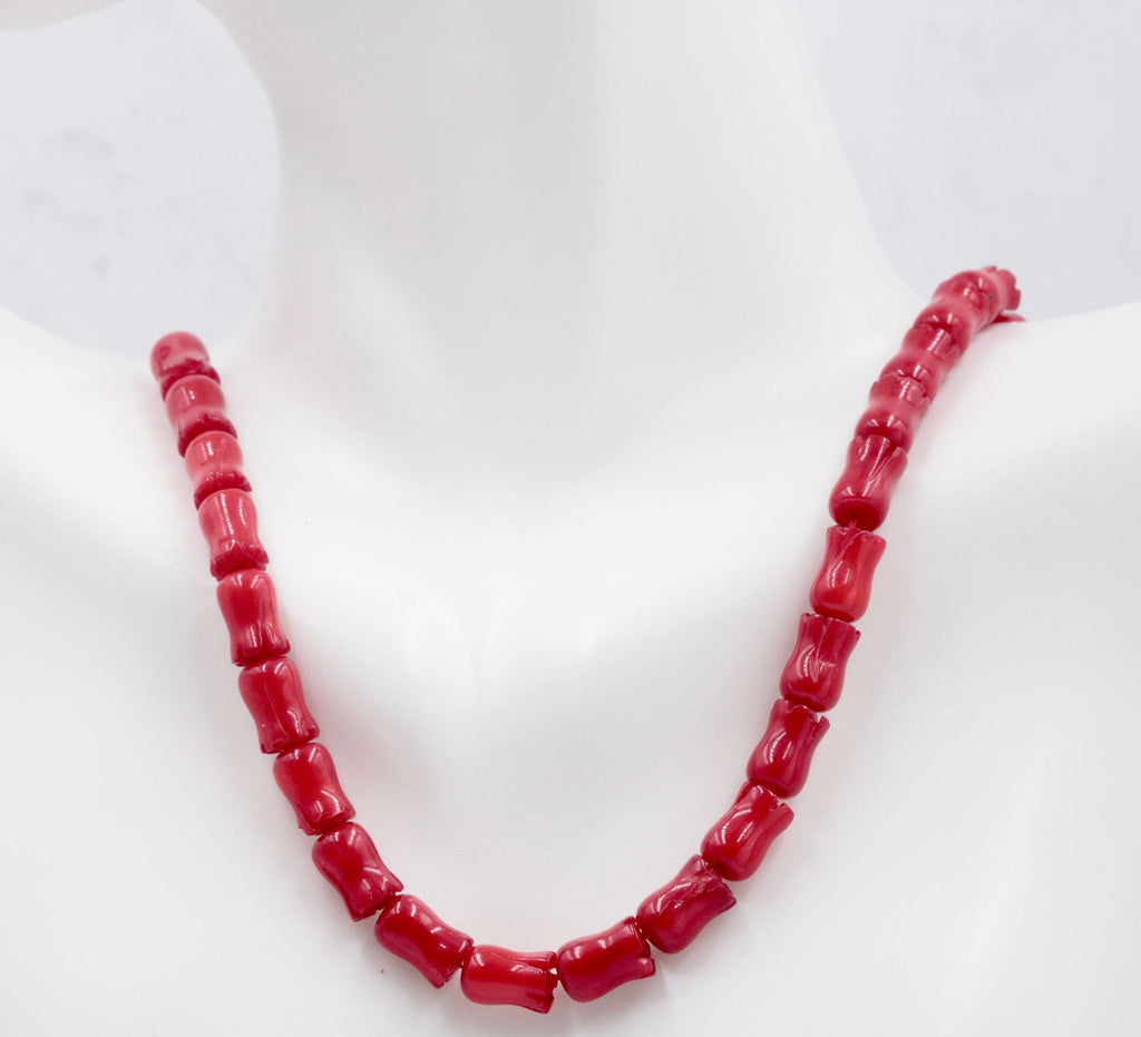 Natural Coral Beads Coral Necklace Italian Coral beads Red Coral Beads Coral Beads Red Coral Beads Coral Bead Necklace16 Inch SKU: 00104794-Planet Gemstones