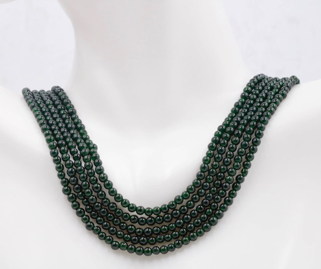 Green Jade Beaded Necklace Unfinished Plain Round 2-3mm 15-15.5 inches-Planet Gemstones