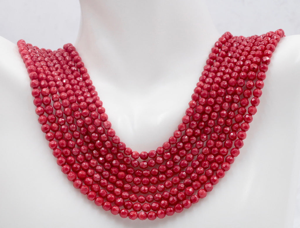 Natural Coral Beads Coral Necklace Italian Coral beads Red Coral Beads Coral Beads Red Coral Beads Coral Bead Necklace 4mm 15-16 Inch-Planet Gemstones