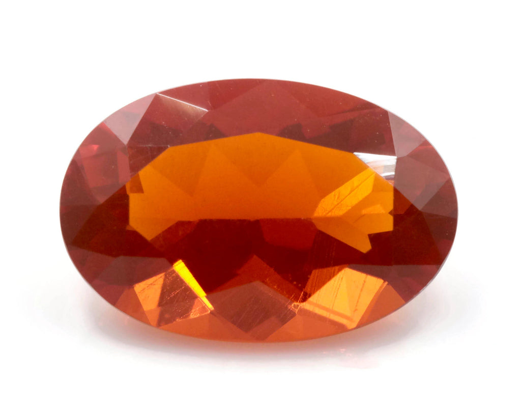 Natural Fire Opal Mexican Fire Opal October birthstone Oange Gemstone Fire Opal Gemstone Faceted Fire Opal Fire Opal Oval, 12x8mm, 2.27ct,-Planet Gemstones