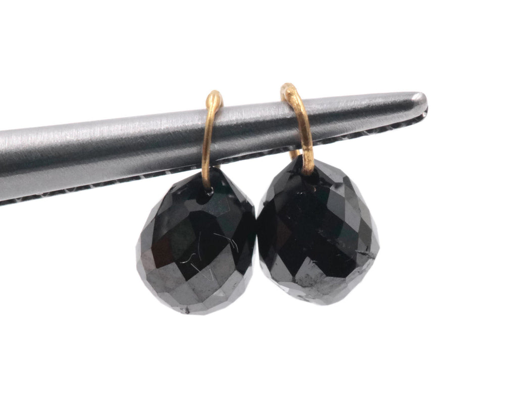 Black Diamond Diamond Briolette Black Diamond Beads Black Diamond Drops Natural Black Diamond For April Beads 18KT YG 4X3MM 1.30Ct-Planet Gemstones