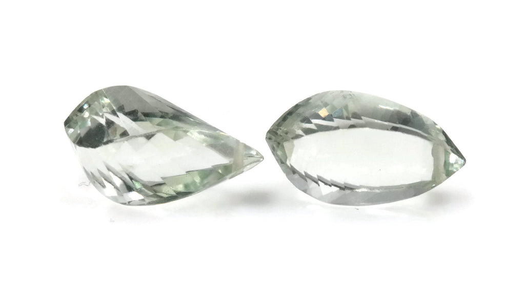 Natural Green Amethyst twisted shape green faceted genuine amethyst DIY Jewelry Supply 12-14mmx8-9mm, 9-10ct DIY Jewelry Supplies-Planet Gemstones