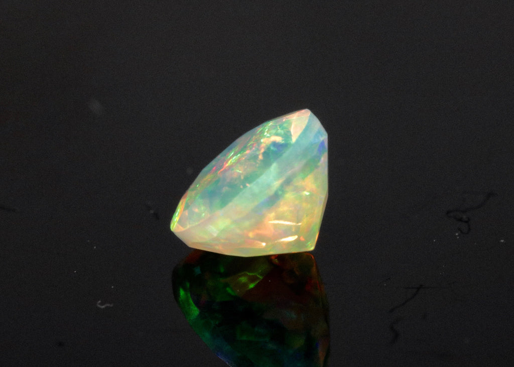 Natural Opal Ethiopian Opal Loose Ethiopian Opal Natural Welo Opal Rainbow Fire Opal Ethiopian Opal, Faceted Round, 6mm, 0.55ct-Planet Gemstones