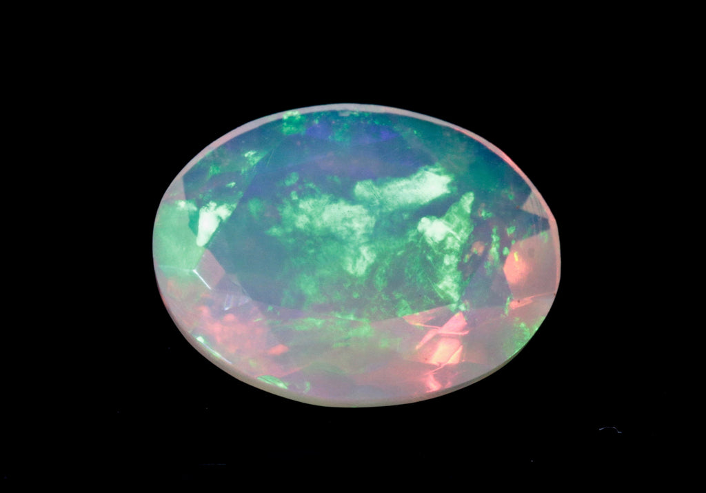 Natural Opal Ethiopian Opal Loose Ethiopian Opal Natural Welo Opal Rainbow Fire Opal Ethiopian Opal Faceted Oval, 9x7mm, 1.02ct-Planet Gemstones