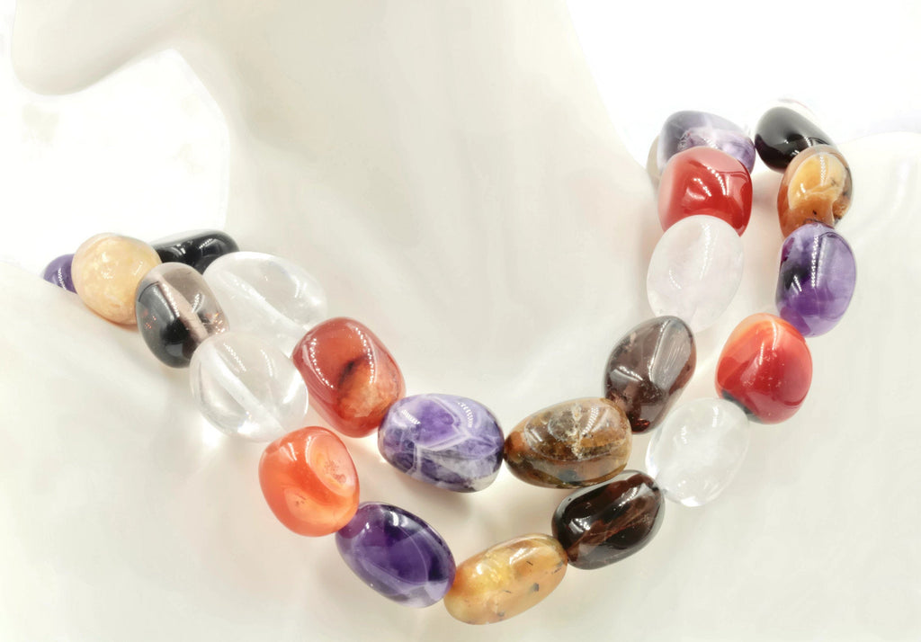 Multicolored Semi-precious Nuggets Smoky quartz Carnelian DIY Jewelry Amethyst Rock Crystal Agate Beads Unfinished Necklace 16 inches long-Planet Gemstones