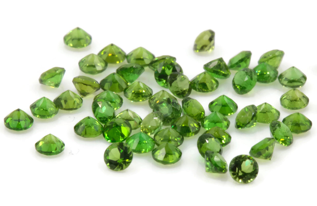 Natural Chrome diopside Green Gemstone Russian diopside Green Diopside DIY jewelry supplies Faceted Chrome diopside 5PCS round 2mm 0.18ct-Planet Gemstones