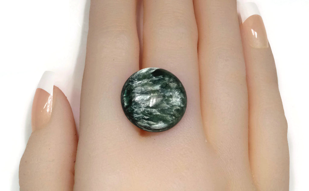 Green Seraphinite for jewelry 26 Cts Top Quality Natural Seraphinite Cabochons Seraphinite gemstone Seraphinite Loose stone A-3107