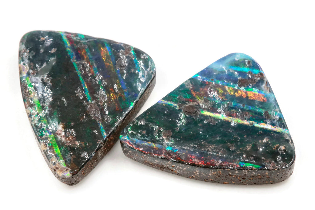 Natural Australian Boulder Opal Genuine Opal Stone Aussie Boulder Opal Stone Pair 29ct, SKU:00110934 DIY Jewelry Supplies-Planet Gemstones