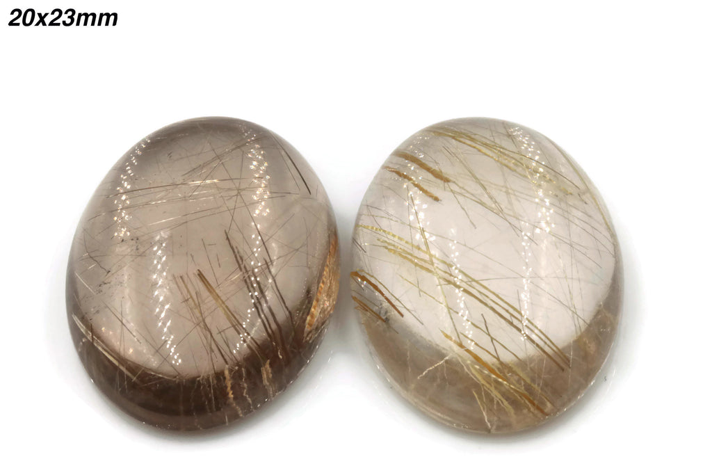 Natural Rutile Quartz Gemstone Cabochon Rutile Quartz stone Oval DIY Jewelry Supplies 17-40ct, 15-25mm DIY Jewelry Supplies-Planet Gemstones