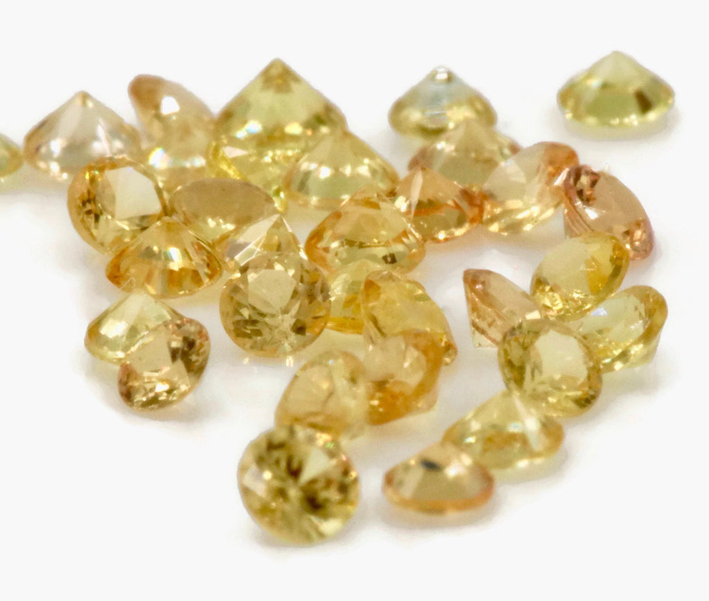 Natural Sapphire Yellow Melee Sapphire Sapphire loose stone loose sapphire birthstone Sapphire Gemstone DIY Jewelry 5PCS SET 2mm 0.22ct-Planet Gemstones