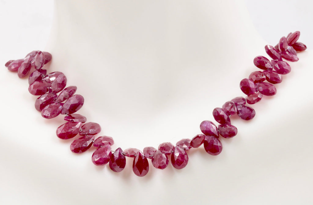 Genuine ruby beads Ruby bead necklace ruby gemstone beads ruby fuchsite beads necklace for women ruby necklace 5-8mm, 10 inches-Ruby-Planet Gemstones