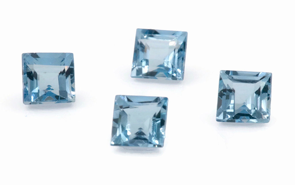 Aquamarine Natural Aquamarine March Birthstone DIY Jewelry Supplies Aquamarine Gemstone Blue Aquamarine SQ shape 4PCS SET 2.5mm, 0.34ct-Aquamarine-Planet Gemstones