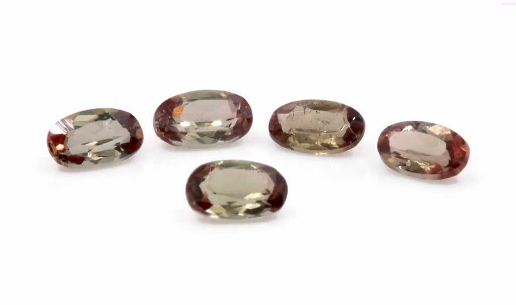 Natural Andalusite Andalusite Gemstone Genuine Andalusite Poor Man Alexandrite Faceted Andalusite DIY ANDALUSITE 5PCS SET 5x3mm 1.1ct-Planet Gemstones