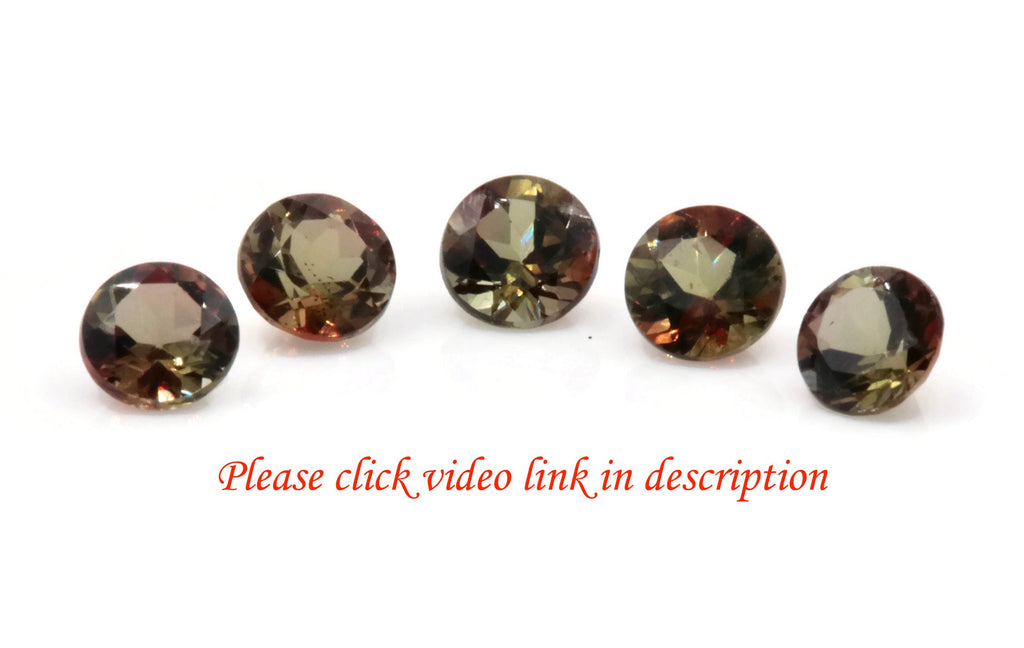 Natural Andalusite Andalusite Gemstone Genuine Andalusite Poor Man Alexandrite Faceted Andalusite DIY ANDALUSITE 5PCS SET 4mm 1.35ct-Planet Gemstones
