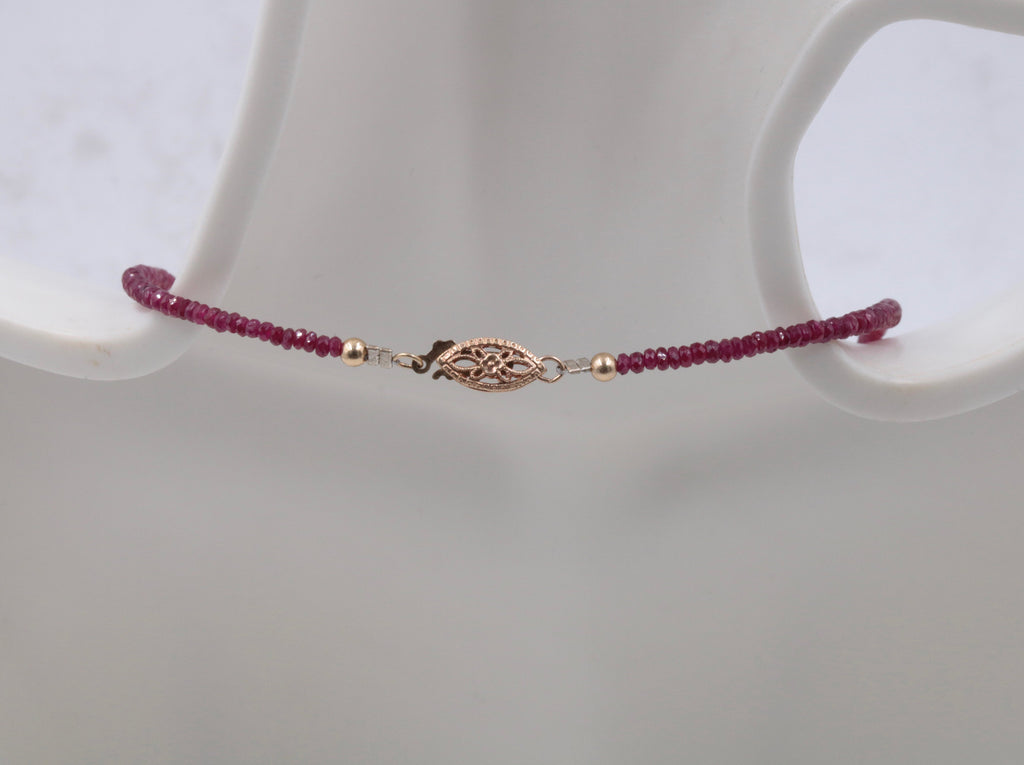 Natural Ruby Necklace 14K YG Ruby Roundelle Necklace Ruby Jewelry Birthstone Jewelry July Birthstone 1 Strand 18 inches long 40ct-Ruby-Planet Gemstones