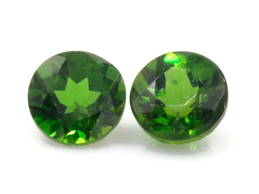 Natural Chrome diopside Green Gemstone Russian diopside Green Diopside DIY jewelry supplies Faceted Chrome diopside 4mm RD pair-Planet Gemstones
