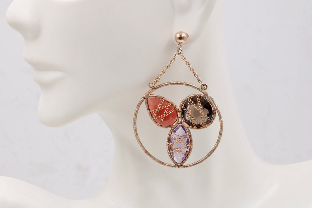10K Multi-Color Semi-Precious Gemstone Wire and Chain Wrap Gold Earring Gift for Mom Gift for her Vintage Gift Unique Jewelry-Planet Gemstones