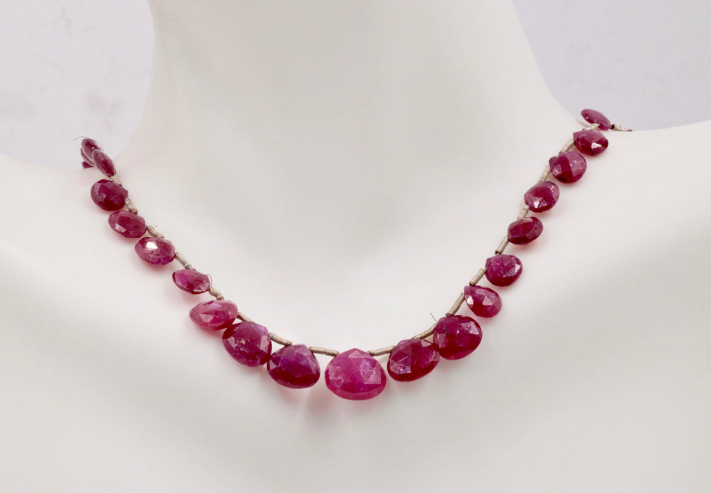 Genuine ruby beads Ruby bead necklace ruby gemstone beads ruby fuchsite beads necklace for women ruby necklace 5-9mm, 6 inches-Ruby-Planet Gemstones