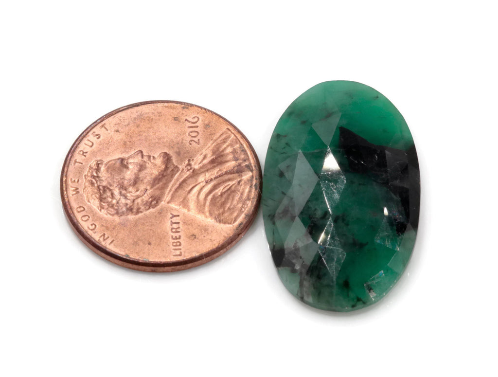 Natural Emerald Slice 15x26mm May Birthstone Emerald Green Diy Jewelry Diy Jewelry Supplies Natural Emerald Rose Cut DIY Jewelry Supplies-Planet Gemstones