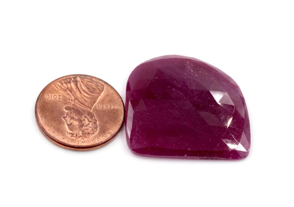 Natural Ruby DIY Jewelry Supply Ruby July Birthstone Rose Cut Ruby Gemstone Genuine Ruby Ruby pair 67.4ct 26mm Ruby Rose cut-Ruby-Planet Gemstones