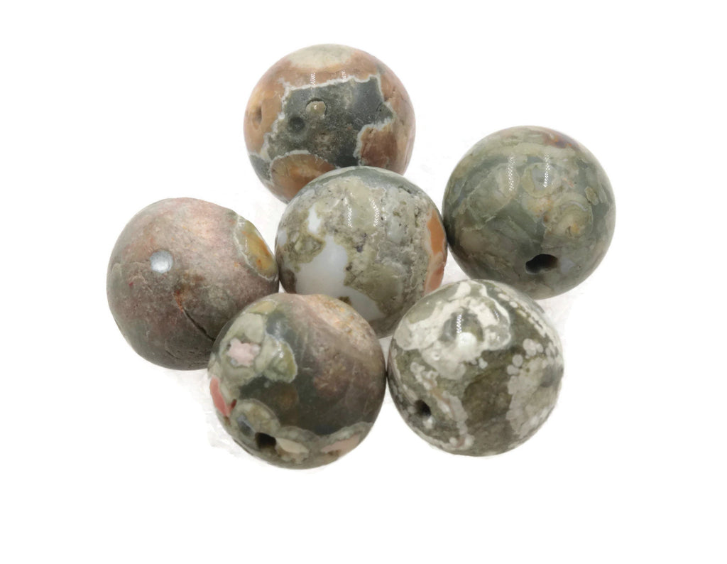 Natural Rainforest Agate Beads RD 12mm, 16mm 6pcs SET DIY Jewelry Supplies 56ct, 152ct Agate beads-Planet Gemstones