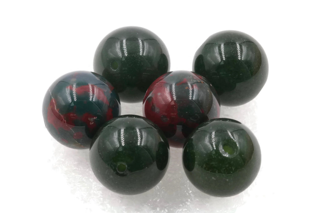 Natural Blood Stone Agate Beads RD 14mm 6pcs SET DIY Jewelry Supplies 113ct Agate beads-Planet Gemstones
