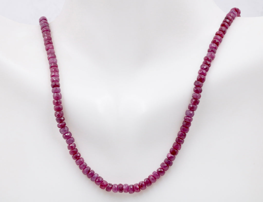 Natural Ruby Necklace 14K YG Ruby Roundelle Necklace Ruby Jewelry Birthstone Jewelry July Birthstone 1 Strand 18 inches long 80ct-Ruby-Planet Gemstones