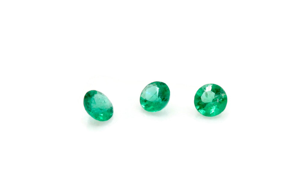 Emerald Natural Emerald May Birthstone Zambian Emerald Round Emerald Jewelry Supplies Emerald Gemstone 0.048ct 1.50mm Emerald green 3PCS-Emerald-Planet Gemstones