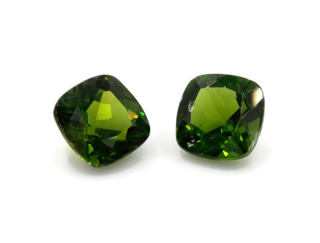 Natural Chrome Green Gemstone green stone natural chrome stone green diopside gems 6mm Square 2pcs set Pair DIY Jewelry Supplies-Planet Gemstones