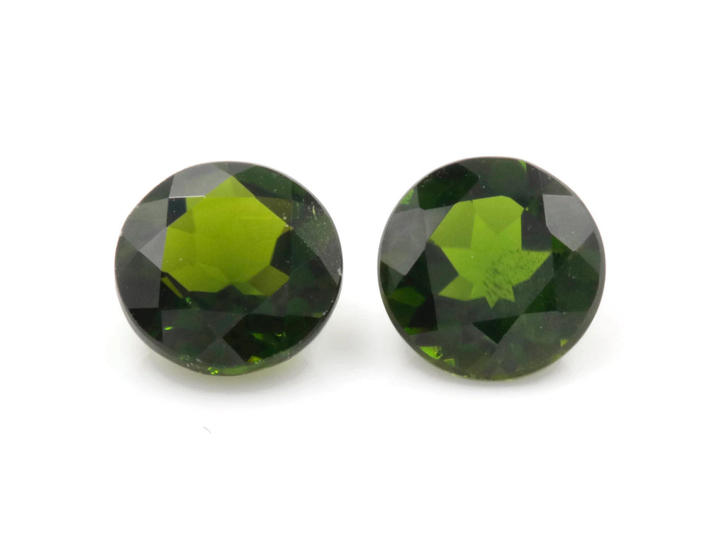 Natural Chrome Green Gemstone green stone natural chrome stone green diopside gems 6.5mm Round 2pcs set Pair DIY Jewelry Supplies-Planet Gemstones